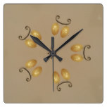 Yellow Golden Egg Pattern Easter Eggs Rustic Beige Square Wall Clock