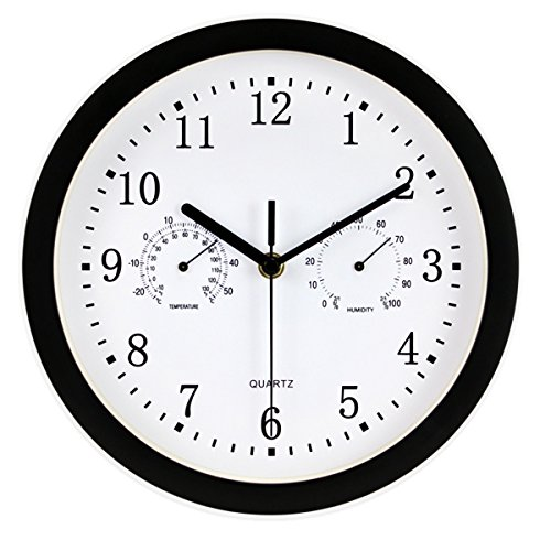 Foxtop 10-inch Indoor/Outdoor Wall Clock – Weather Monitoring Clock – Universal Quartz Non-Ticking & Silent Glass Cover (Black)