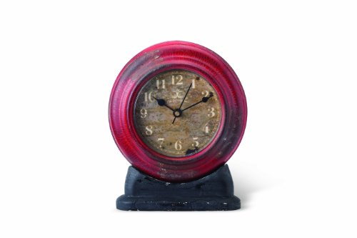 Foreside Home and Garden Metal Station Shelf Clock, Red