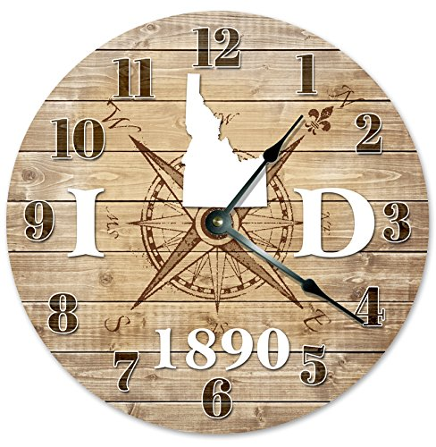 IDAHO CLOCK Established in 1890 Decorative Round Wall Clock Home Decor Large 10.5″ COMPASS MAP RUSTIC STATE CLOCK Printed Wood Image