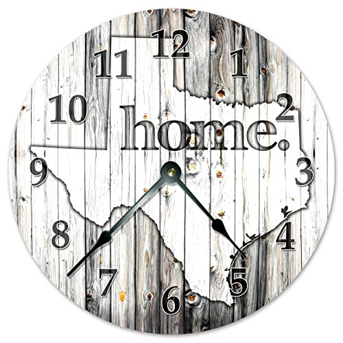 TEXAS STATE HOME CLOCK Black and White Rustic Clock – Large 10.5″ Wall Clock