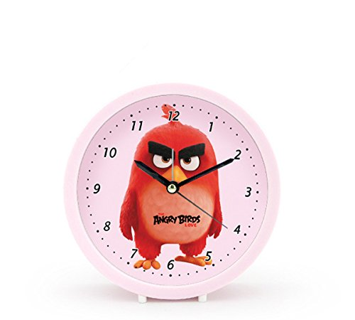 Foxtop 5 Inch Deco-Custom Cute Angry Birds Movie Star Silent Alarm Clock Round Table Clocks Top Gift for Kids (Red)