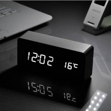 Voice Control Wooden Box Led Alarm Clock Digital Desk Clock Thermometer Calendar^.