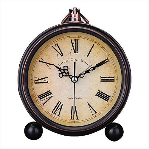 Kaimao Vintage Style Alarm Clock 5″ (13cm) Silent Antique Retro Table Clock with Hanging Loop (roman numerals)