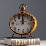 YOURNELO Vintage Mental Numeral Desk Table Shelf Clock