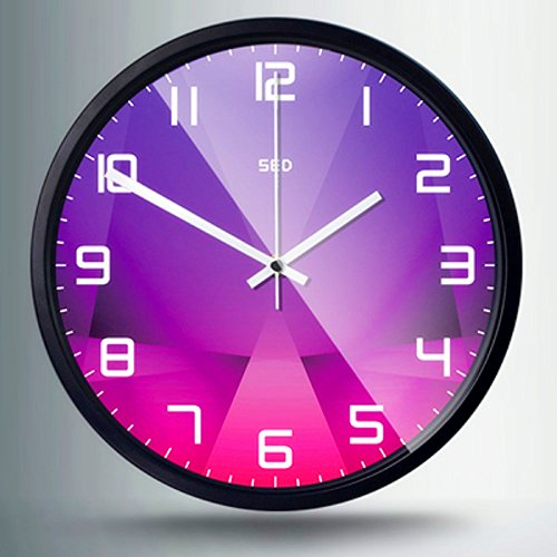Color Map 12-Inch Large Digital Modern Colorful Stylish Elegant Silent Non-ticking Home Kitchen/Living Room Wall Clock (Purple crystal, Black)