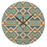 Brown Orange Teal Turquoise Eclectic Ethnic Look Large Clock