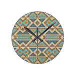 Brown Orange Teal Turquoise Eclectic Ethnic Look Round Clock