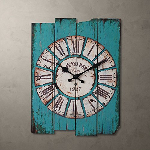 Metee: Blue-H15-034-Country-Style-Art-Wood-Wall-Clock-Roma-Numerals-Home-Living-Room-Decor