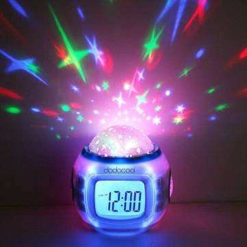 UR Home Decor Music Starry Sky Projection Alarm Clock Calendar Thermometer Desktop Table Clocks Gift