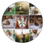 Instagram Photo Grid Rustic Wedding Vintage Wood Large Clock