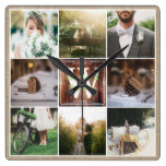 Rustic Wedding Instagram Photo Grid Wood Burlap Square Wall Clock