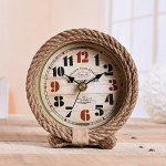 YOURNELO Hemp Rope Iron Art Muse Silent Desk Shelf Clock