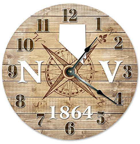 NEVADA CLOCK Established in 1864 Decorative Round Wall Clock Home Decor Large 10.5″ COMPASS MAP RUSTIC STATE CLOCK Printed Wood Image