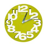 Sanmersen 3D Big Creative Simple Three-dimensional Digit Modern Contemporary Kitchen Office Home Decor Wall Clock (Green)