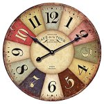 12-inch Wooden Clock, Eruner Vintage Wood Wall Clock – [Cafe De La Tour] Retro Style France Paris London Country Non-Ticking Silent Wooden Wall Clock (#01)