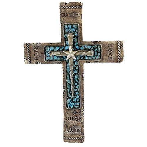 Western Wall Cross Rustic Cowboy Praying Crucifix with Faith, Hope, Love and Home Turquoise Center with Nails & Star Centerpiece