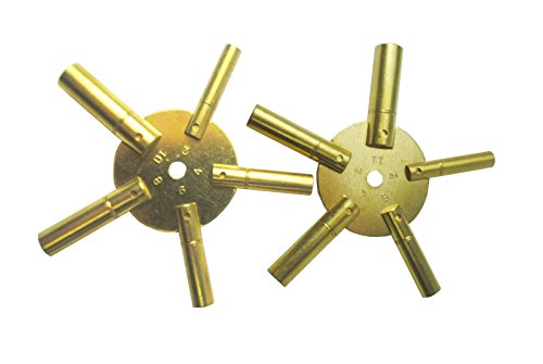 5 Prong Brass Clock Key for Winding Clocks, Odd and Even Numbers, 2 Piece from Brass Blessing