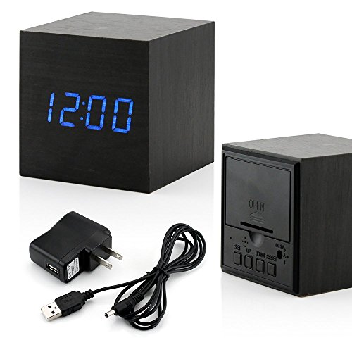 GEARONIC TM Ultra Modern Wooden LED Clock Square Cube Digital Alarm Thermometer Timer Calendar Updated 2016 Brighter LED -Black