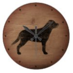Greater Swiss Mountain Dog Silhouette Rustic Large Clock
