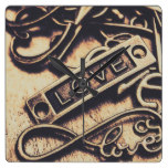 Rustic love icons square wall clock