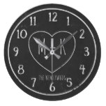 The Newlyweds Chalkboard Wedding Round Clock