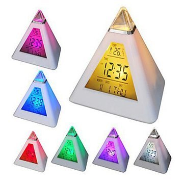 7 Colors Changing Pyramid Colorful Clock Digital Led Alarm Clock Calendar Thermometer Time^.