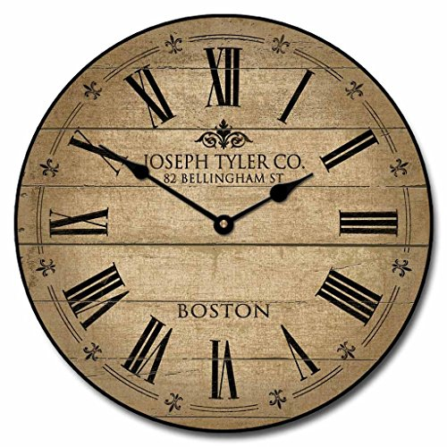 Barnwood Tan Wall Clock, 10″ – 48″, Whisper Quiet, non-ticking