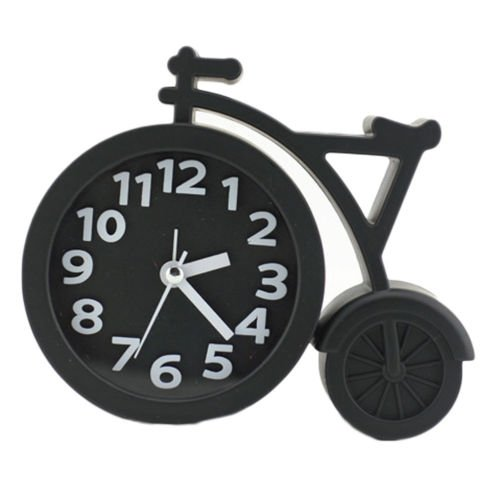 Walid-Bicycle Design Alarm Clock Desk Clock Mute Students Office Home(Black)