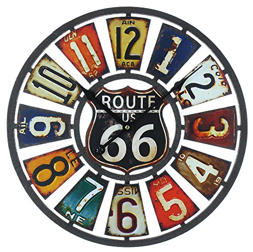 Rustic Style Route 66 Themed Multi-colored Wall Clock By Haysom Interiors