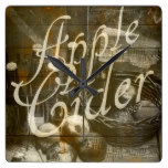 Apple Cider Sign Printed on Rustic Wood Planks Square Wall Clock