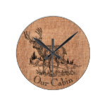 "Burlap ""Our Cabin"" and Deer Illustration Round Clock"