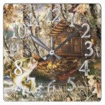 Cabin Decor, Lakes and Fishes Print Square Wall Clock