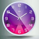 Color Map 12-Inch Large Digital Modern Colorful Stylish Elegant Silent Non-ticking Home Kitchen/Living Room Wall Clock (Purple crystal, White)