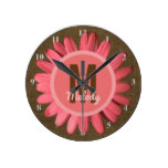 Girls Name Initial Nursery | Rustic Burlap Daisy Round Clock