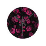 Girly Pink Rustic Floral Roses and Black Pattern Round Clock