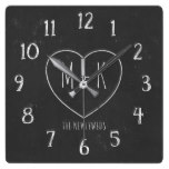 Rustic Chalkboard Style Heart Monogram Newlyweds Square Wall Clock