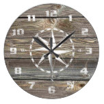 Trendy Authentic looking Wood Nautical Compass Large Clock