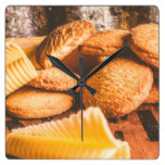 Vintage butter shortbread biscuits square wall clock