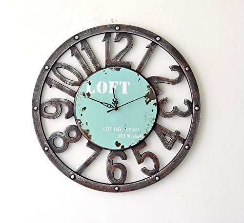 Chris.W Retro Rustic Style Loft Wooden Wall Clock for Home/Bar/Restaurant Decoration, Arabic Numerals Mute Clock, Powered Bby One AA Battery, 15.7Inch(Blue)