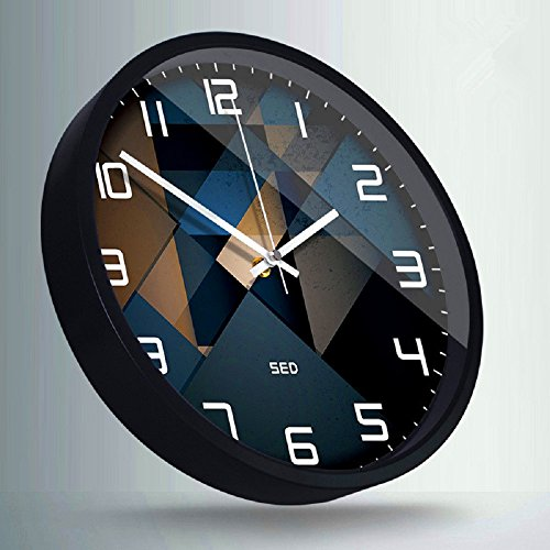 Color Map 12-Inch Large Fashion Concise Design Bedroom/living Room Round Ultra Mute Quartz Movement Metal Frame Wall Clock(Clock-705) (Black)