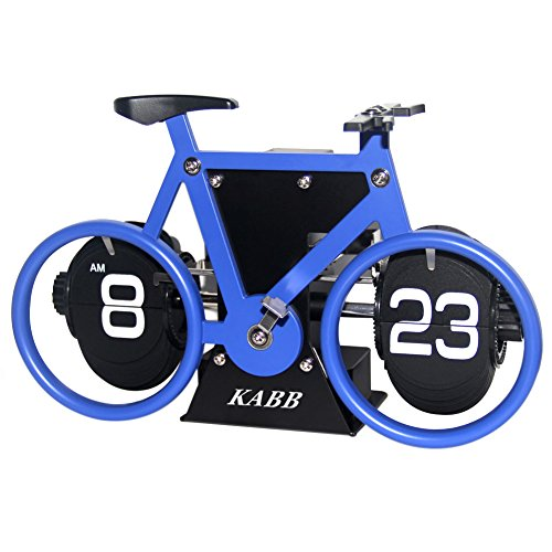 Creative Clock,KABB Modern Stylish Bicycle Shaped Retro Flip Down Alarm Clock with Dual Internal Gears Operated for Office Bedroom Home Decoration (Blue)