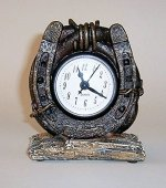 """""""ABC Products"""" – Resin Desk Horseshoe Clock – Attached With Heavy Wire – To a Large Vine – Setting On A Wood Chip – That Old Country Look – (Rustic Dark Bronze – Wood Gray – Battery Powered)"""