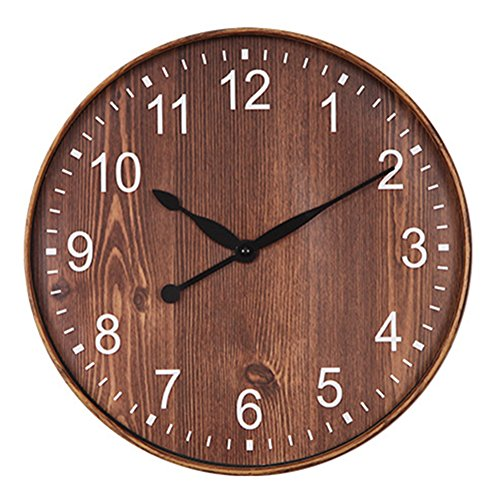 Foxtop 12 inch Silent Non-Ticking Wall Clock Vintage Wood-Grain Plastic Quartz Wall Clock Mute Quiet Sweep Country Style (Dark-Brown)