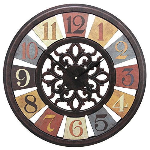 20″ Gallery Large Wall Clocks with Rustic Vintage Prints Brown Frame