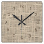 Chic Pastel Taupe Color Faux Jute Fabric Pattern Square Wall Clock