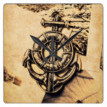 Crest of oceanic adventure square wall clock