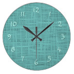 Cute Teal Turquoise Green Faux Jute Fabric Pattern Large Clock