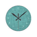Cute Teal Turquoise Green Faux Jute Fabric Pattern Round Clock