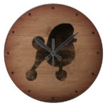Fancy Toy Poodle Silhouette Rustic Large Clock